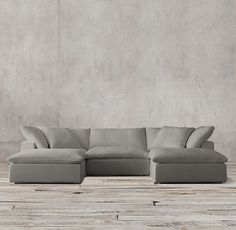 Preconfigured Cloud Cube Modular U-Chaise Sectional Fabric: Perennials textured linen in charcoal Living Room Remodel, Living Room Sofa, Living Room Furniture, Living Room Decor, Living Spaces, Restoration Hardware Cloud, Deep Couch, Do It Yourself Design, Condo Decorating