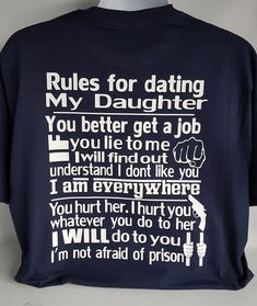 e67294b9 Rules for dating my daughter shirt,father daughter shirt,over protective dad,  Dad, Daughter