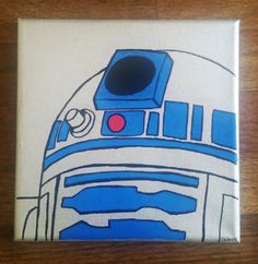 R2D2 Star Wars Canvas Painting by LovelyChelseaArt on Etsy
