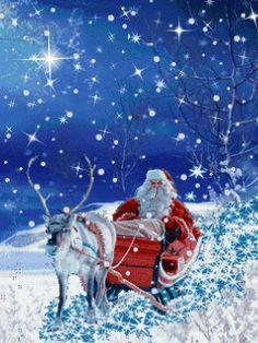 Moving Christmas Photos - Animated Christmas Gif - It's Santa Merry Christmas! Christmas Scenes, Christmas Past, Father Christmas, Blue Christmas, Christmas Images, Christmas Greetings, Beautiful Christmas, Winter Christmas, Free Animated Christmas Cards