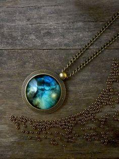 Universe pendant Galaxy necklace Blue green space por TriccotraShop