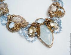 Купить Rovenna - голубой, золотой, светло голубой, нежное украшение, винтаж, голубой кальцит