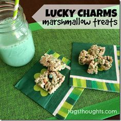 St. Patrick's Day Lucky Charms Marshmallow Treats Recipe by tagsthoughts