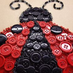 Button Ladybug - NEW from our button art kits. You will have everything you need in our kit to make this ladybug! Also available at Joann Fabrics Stores. @joannstores #buttons #ladybug #buttonart