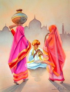 India Painting, Fabric Painting, Painting & Drawing, Rajasthani Painting, Rajasthani Art, Indian Art Gallery, Composition Painting, Indian Illustration, Indian Folk Art