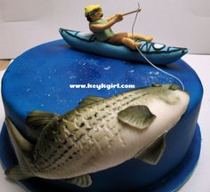 Birthday Cake Designs Fishing - Share this image!Save these birthday cake designs fishing for later by share this image, a Fish Cake Birthday, Birthday Cake Pictures, Happy Birthday, Birthday Ideas, Fondant Cakes, Cupcake Cakes, Cupcakes, Fondant Fish, Kayak Cake