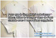 Heureusement, pour les t-shirts 100% coton, il existe une astuce magique pour les garder blancs. Il suffit juste d'avoir un peu d'eau oxygénée.  Découvrez l'astuce ici : http://www.comment-economiser.fr/t.shirt-blanc-eau-ogygenee.html?utm_content=buffer4cd32&utm_medium=social&utm_source=pinterest.com&utm_campaign=buffer