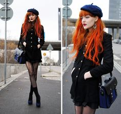 Black Drop Earring, Blue Beret, Blue/Black Classic Bag, Black Coat With Golden Buttons, Blueberry Shoes 1940s Fashion, All Fashion, Fashion Outfits, Womens Fashion, Fashion Trends, Style Me, Cool Style, 1940s Style, Girls With Red Hair