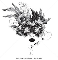 Exactly what I've been missing! I want!!! stock vector : Abstract woman mask with flowers black and white