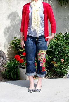 Really cute! Love the patches! I might try to do this to some pants of mine. I can't wear what used to be my favorite jeans because they got a hole in the knee... why didn't I think of just patching them?