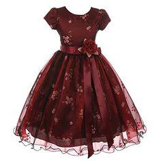 79d411a6bd153 Kiki Kids Big Girls Burgundy Black Mesh Organza Flower Christmas Dress 8-12  Little Girl