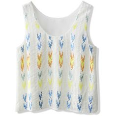 Chicwish Aztec Sequins Embellished Tank Top in White