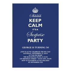 Keep Calm Funny Milestone Surprise Birthday Party Card Invitations Dinner Invitation