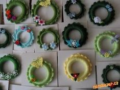 Cute Gifts, Crochet Earrings, Wreaths, Embroidery, Christmas Ornaments, Knitting, Crafts, Crochet Christmas, Appliques