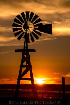 Sunset, windmill, beautiful.