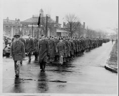 Troops marching in Dover, Delaware.  From the Delaware in World War II collections at the Delaware Public Archives.