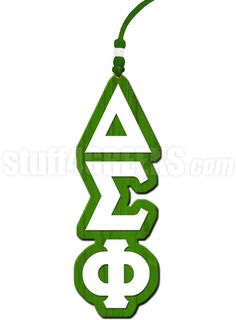 Kelly green and white Delta Sigma Phi tiki necklace.