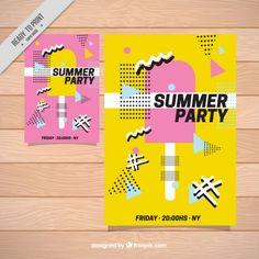 Cartel de fiesta de verano con helado Vector Gratis