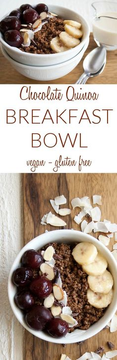 Factors You Need To Give Thought To When Selecting A Saucepan Chocolate Quinoa Breakfast Bowl Vegan, Gluten Free - This Healthy Breakfast Has Cherries, Almonds, Banana, And Coconut To Get You Off To A Great Start Quinoa Breakfast Bowl, Vegetarian Breakfast, Best Breakfast, Breakfast Healthy, Breakfast Ideas, Healthy Breakfasts, Breakfast Time, Healthy Foods, Healthy Recipes