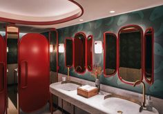 Purity and Sin Explored in Culinary Creation – Trendland Online Magazine Curating the Web since 2006 Restroom Design, Centre Commercial, Public Bathrooms, Toilet Design, Red Rooms, Restaurant Branding, Interior Design Studio, Washroom, Designer Wallpaper