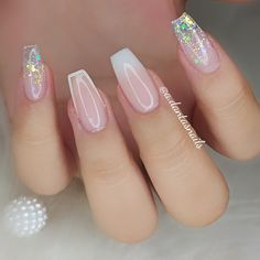 Natural Acrylic Nails, Best Acrylic Nails, Aycrlic Nails, Swag Nails, Army Nails, Clear Glitter Nails, Fancy Nail Art, Fire Nails, Dream Nails