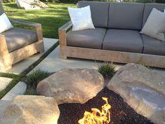 einrichten Steine Felsblock Sitzecke Gartenmöbel