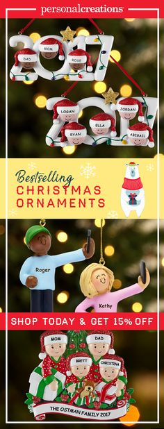 Turn your stories into memories with our personalized Christmas ornaments. Shop today and get 15% off your order.