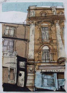 Lucy Jones - Chalmers Close, Royal Mile Edinburgh, Study Collage with Monoprint November 2013 x Sketches Arquitectura, Gcse Art Sketchbook, A Level Textiles Sketchbook, Sketchbooks, Urbane Kunst, Photocollage, A Level Art, Art Abstrait, Urban Sketching