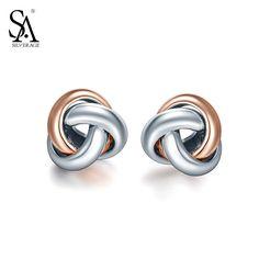 Real 925 Sterling Silver Love Knot Earrings