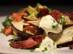 Baked Sweet Potato, Bacon & Chive Sour Cream