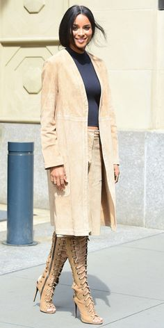 Ciara steps out in head-to-toe suede, with a matching set by Theory and Giuseppe Zanotti lace-up boots