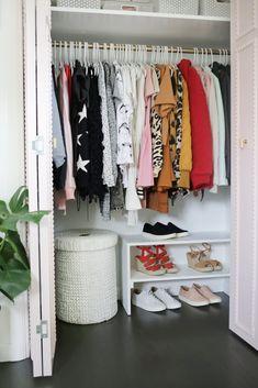 Creating an Open Closet System - A Beautiful Mess Le Closet, Closet Bedroom, Bedroom Decor, Bedroom Ideas, Hallway Closet, Long Hallway, Kids Bedroom Furniture, Closet Space, Closet Doors