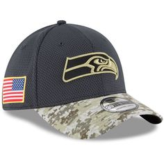 2d79bc40f6f Youth New Era Graphite Seattle Seahawks Salute To Service Sideline Flex Hat