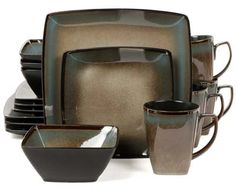 Gibson Elite Tequesta Square Dinnerware Set, Taupe Sets Include: 4 Piece 11 Inch Dinner Plate, 4 Piece Inch Dessert Plate, 4 Piece Inch Bowl, 4 Piece 13 Oz Mug Dishwasher and Microwave Safe Stoneware Dinnerware Service For Four Reactive Glaze Finish