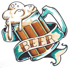 Just colored that beer doodle. Turned it into a coaster for my new battlestati. Beer Tattoo, Hawaiianisches Tattoo, Chic Tattoo, Dragon Tattoo Back Piece, Dragon Sleeve Tattoos, Traditional Tattoo Portrait, Traditional Tattoos, Punisher Tattoo, Japanese Dragon Tattoos