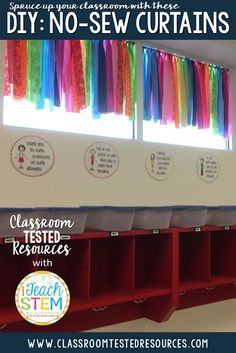 Sewing Curtains DIY Teacher Hack: How to create cute, custom, no-sew curtains for your classroom. Add a colorful touch to any room using scrap material, ribbons, or lace. Don't miss this tutorial. Classroom Hacks, Classroom Setting, Classroom Setup, Classroom Design, Kindergarten Classroom, Future Classroom, Classroom Organization, Preschool Classroom Themes, Monster Classroom