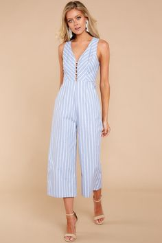 ddfe2295e3 Not Right Now White Striped Jumpsuit