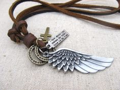 Retro necklace Big Wing Necklace Men's Leather Necklace made by Brown leather cord and Ring & Cros s on Etsy, Mens Leather Necklace, Leather Jewelry, Leather Cord, Leather Men, Beaded Jewelry, Handmade Jewelry, Unique Jewelry, Brown Leather, Man Jewelry