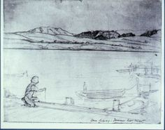 A sketch of my grandfather in Inverness!    Bruce Porter, Filoli Gardens collection, Bruce Porter's son, Inverness 1925, 9x11