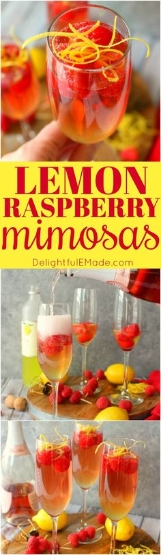 Mimosas brought to a whole new, glorious level! These Lemon Raspberry Mimosas are made with fresh raspberries, lemoncello liqueur, and topped off with a ChampagneRosé. Your brunch just got even more fabulous! #Delightfulemade #Brunchcocktail #Mimosas