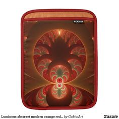 Luminous abstract modern orange red Fractal Sleeve For iPads