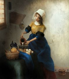 "by Mariel Clayton, Barbie modeled after Vermeer's ""The Milkmaid"" from 1660"