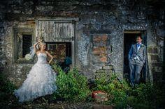 Rustic, derelict wedding shoot in between church and reception!
