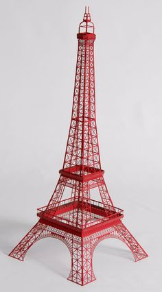 "22"" Papercraft Red Eiffel Tower Model with Full Observation Decks. $65.00, via Etsy."