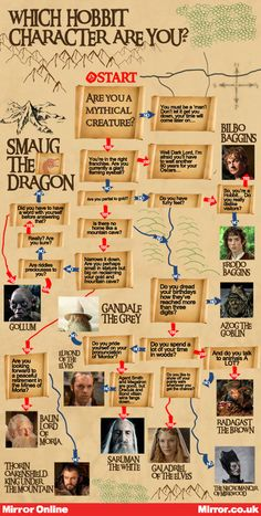 The Hobbit character infographic. I am the eiether Galadriel of the Elves, or Radagast the Brown. My mom says I talk to animals, ALOT, but I disagree.