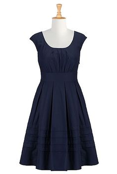 I <3 this Chelsea dress from eShakti  -  navy blue dress with elastic back, full pleated skirt, want.  good site, large size range, tailoring available.        lj