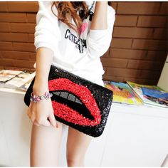 Sexy Red Lip Sequins Crossbody for Women - Bags - Women's Style Free Shipping