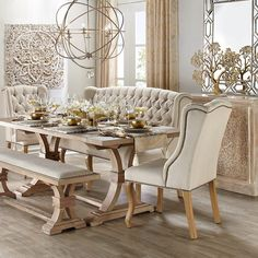 60 Lasting French Country Dining Room Decor Ideas - Home French Country Dining Room, French Living Rooms, Farmhouse Dining Room Table, Dining Room Table Decor, Dining Room Design, Dining Room Furniture, Dining Chairs, Country Living, Dining Room Decor Elegant