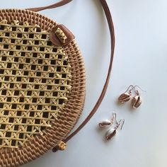 Poppy Round Basket Bay and Shell Earrings Round Basket, Basket Bag, Shell Earrings, Poppy, Shells, Artisan, Jewellery, Lifestyle, Beach
