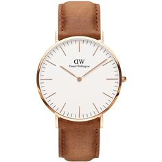Daniel Wellington Classic Durham Rose Gold and Leather Strap Watch ($229) ❤ liked on Polyvore featuring jewelry, watches, brown, water resistant watches, pink gold jewelry, rose gold jewelry, pink gold watches and daniel wellington watches